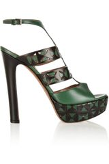 Alaïa Lasercut Leather Platform Sandals - Lyst