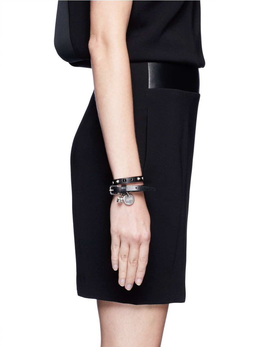 Lyst Alexander Mcqueen Skull Studded Double Wrap Leather