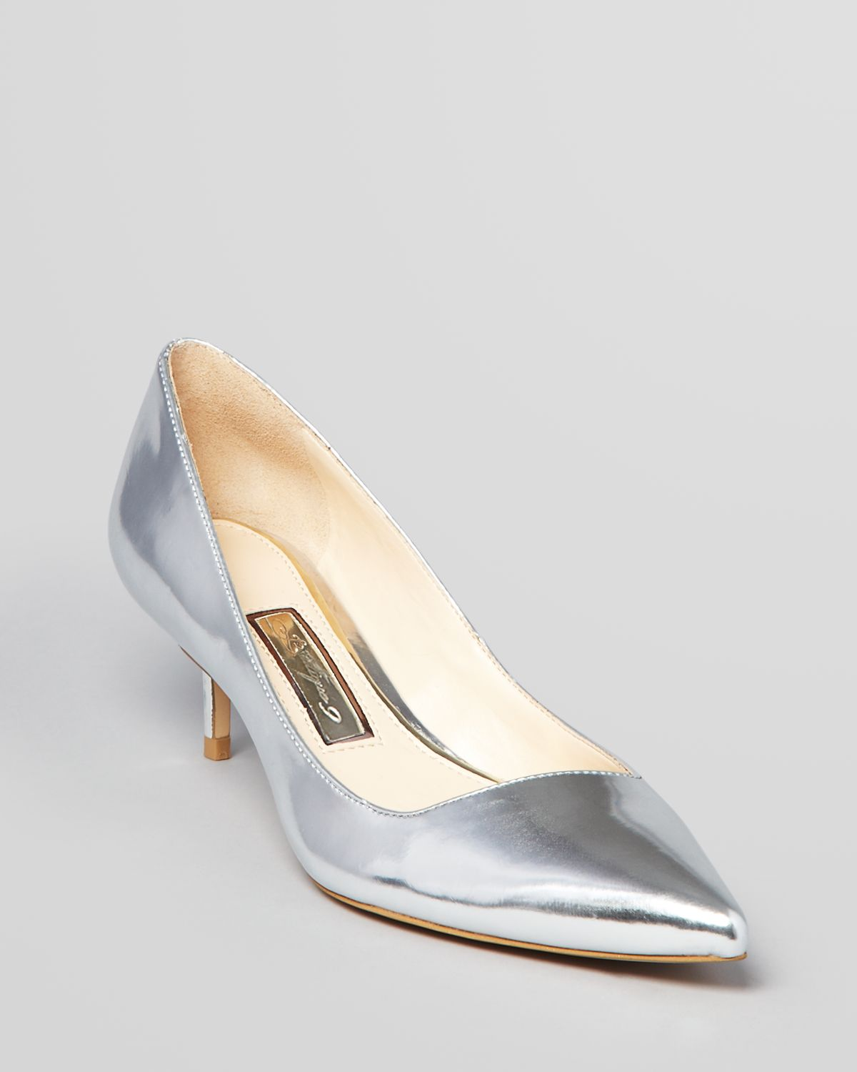 boutique 9 pointed toe pumps sophina kitten heel in silver pewter lyst. Black Bedroom Furniture Sets. Home Design Ideas