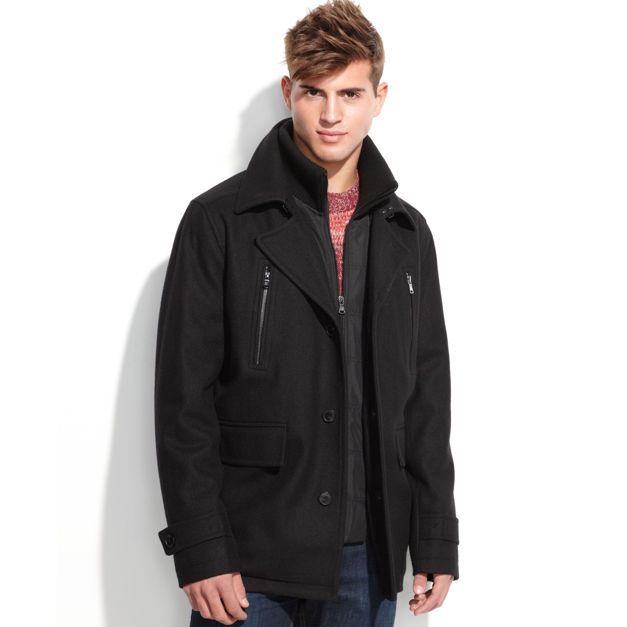 Zipper Pea Coat Mens - Tradingbasis