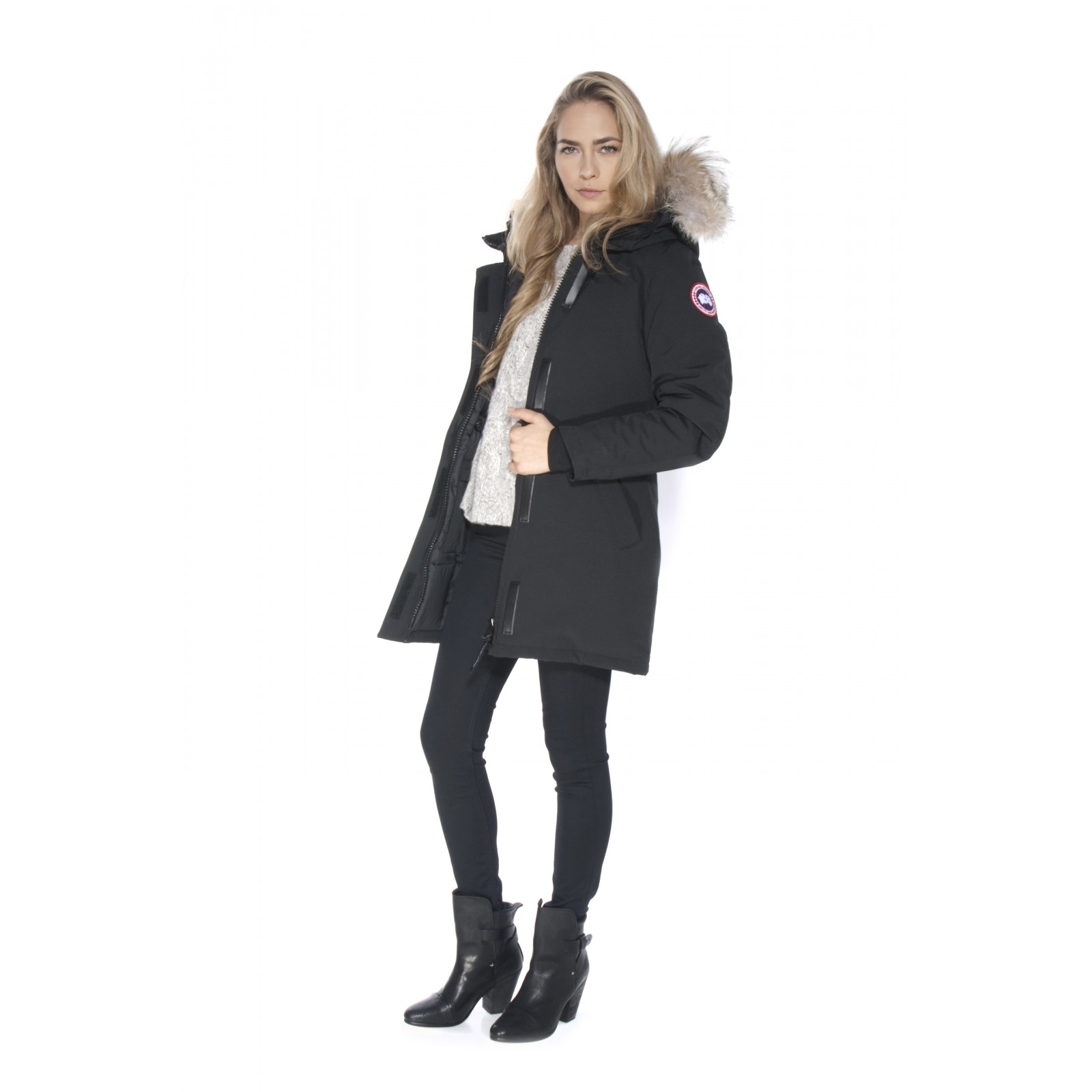 canada goose victoria parka in black lyst. Black Bedroom Furniture Sets. Home Design Ideas