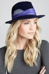 Eugenia Kim Lauren Feathered Fedora Navy - Lyst