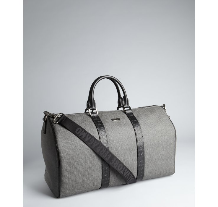 Ferragamo Black And Grey Coated Canvas And Leather Extra