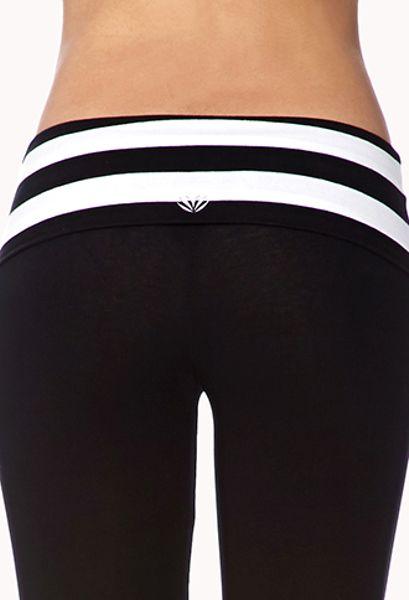 Forever 21 Skinny Foldover Yoga Pants In Black Black