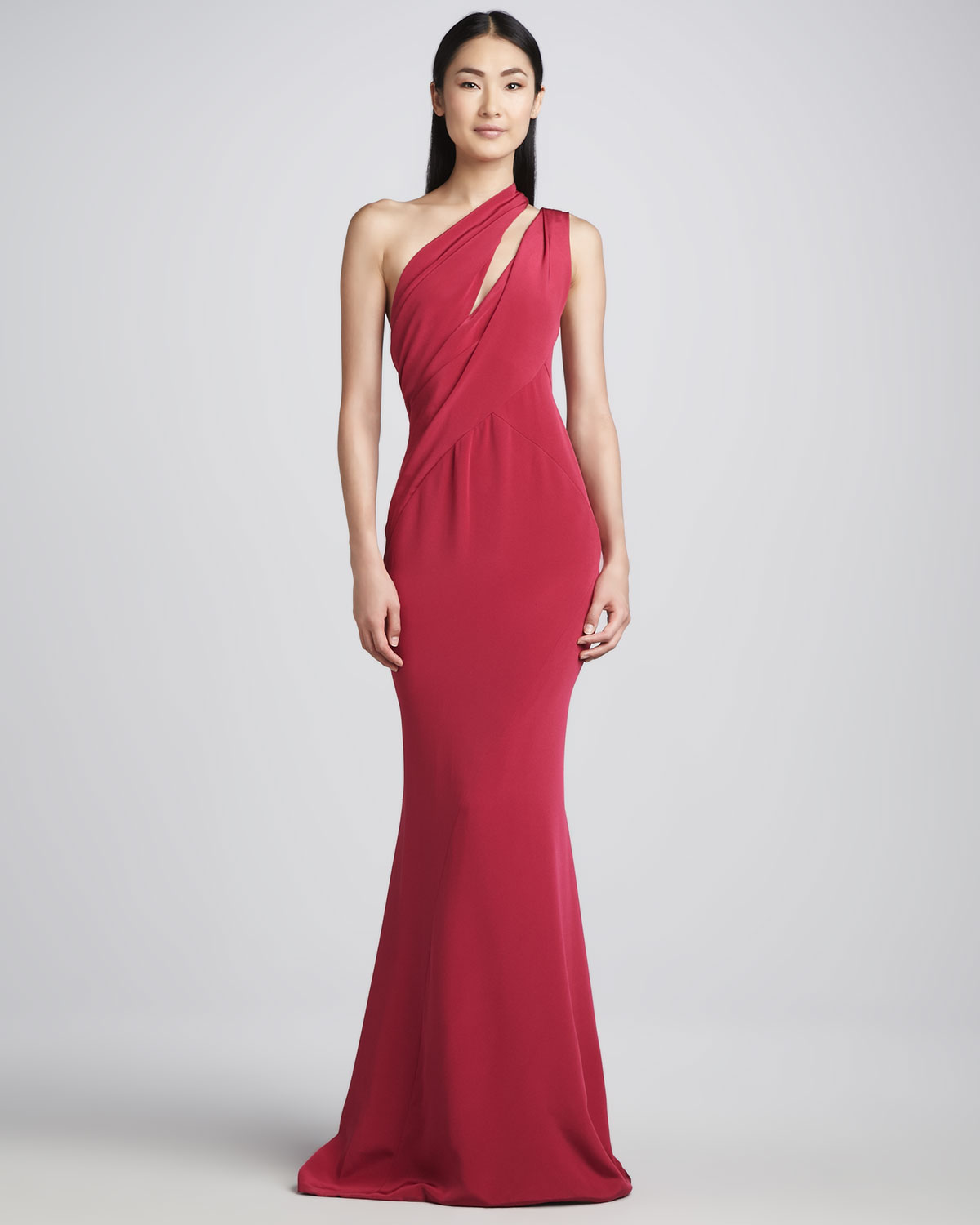 Lyst - J. Mendel Asymmetricdraped Silk Gown Fuchsia in Red