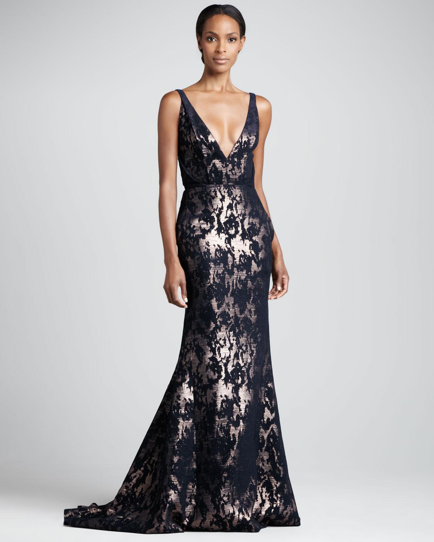 Lyst - J. Mendel Abstract Metallic Gown Navygold in Black
