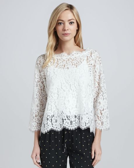 Joie Elvia Scalloped Lace Blouse 86