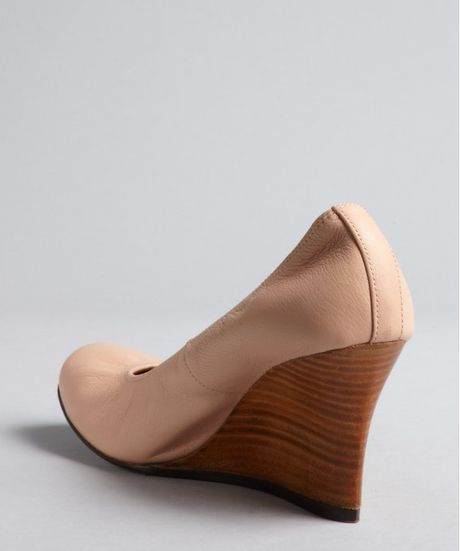 lanvin pink leather and wood ballet flat wedges in