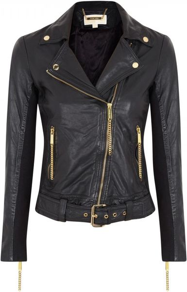 michael by michael kors chain embellished leather jacket in black lyst. Black Bedroom Furniture Sets. Home Design Ideas