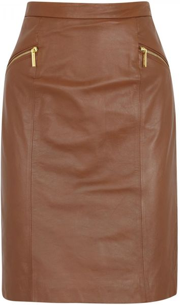 michael michael kors leather pencil skirt in brown lyst