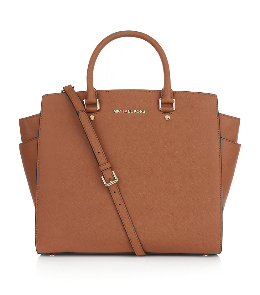 michael michael kors selma large saffiano tote in brown gold lyst. Black Bedroom Furniture Sets. Home Design Ideas