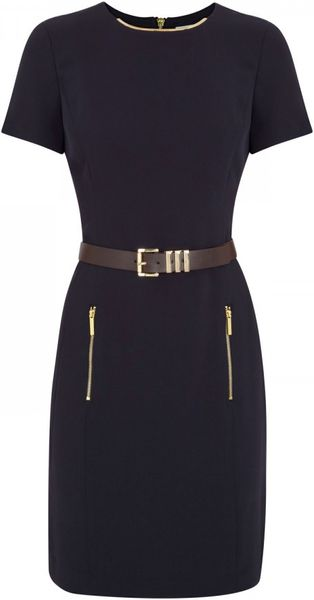 Michael by Michael Kors Belted Crepe Dress - Lyst