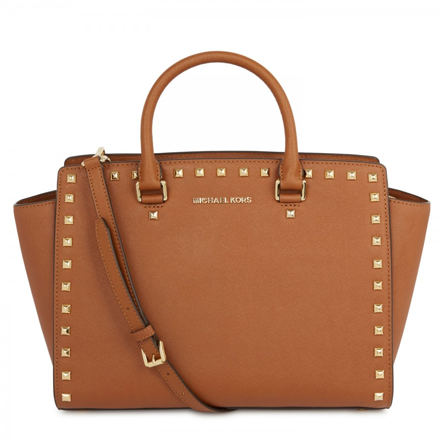 michael kors selma studded saffiano leather tote in brown tan lyst. Black Bedroom Furniture Sets. Home Design Ideas