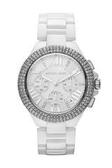Michael Kors Midsize White Stainless Steel Camille Chronograph Glitz Watch - Lyst