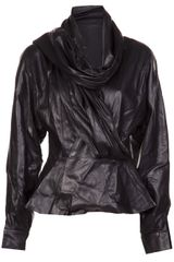 Oscar de la Renta Leather Peplum Jacket - Lyst