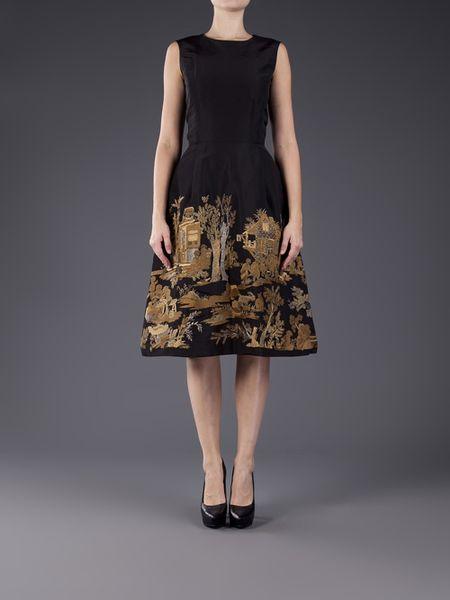 Oscar De La Renta Metallic Embroidered Dress In Black Lyst