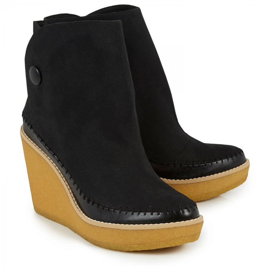 stella mccartney wedge ankle boots in black lyst