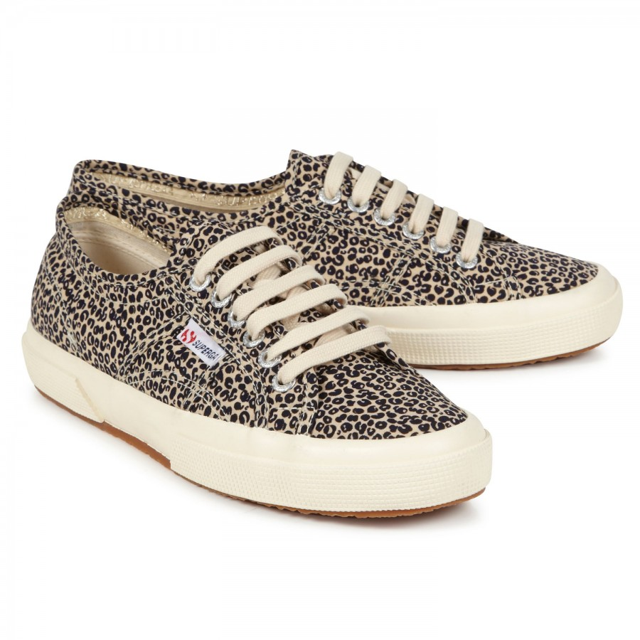 Superga Leopard Print Canvas Trainers in Animal (beige)