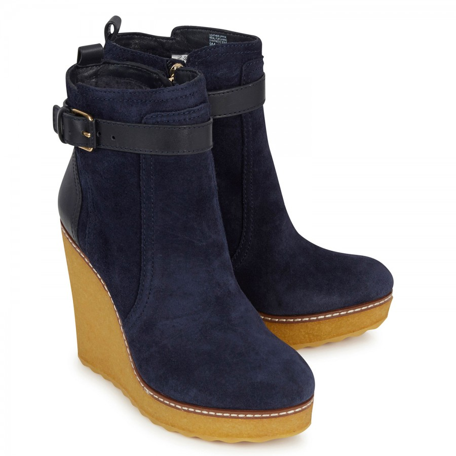 1cfd3b25b23 Tory Burch Remy Suede Wedge Ankle Boots in Blue - Lyst