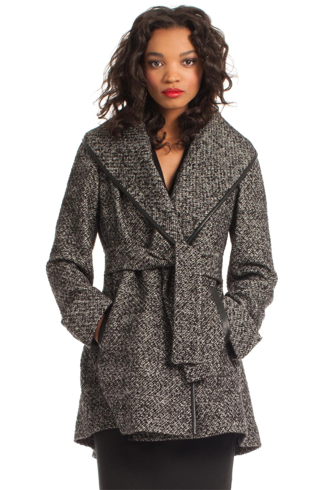 Trina turk Jami Wrap Coat in Gray | Lyst