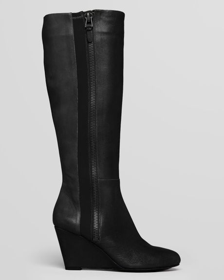 via spiga wedge boots felipa in black lyst