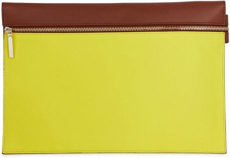 Victoria Beckham Two Tone Leather Clutch