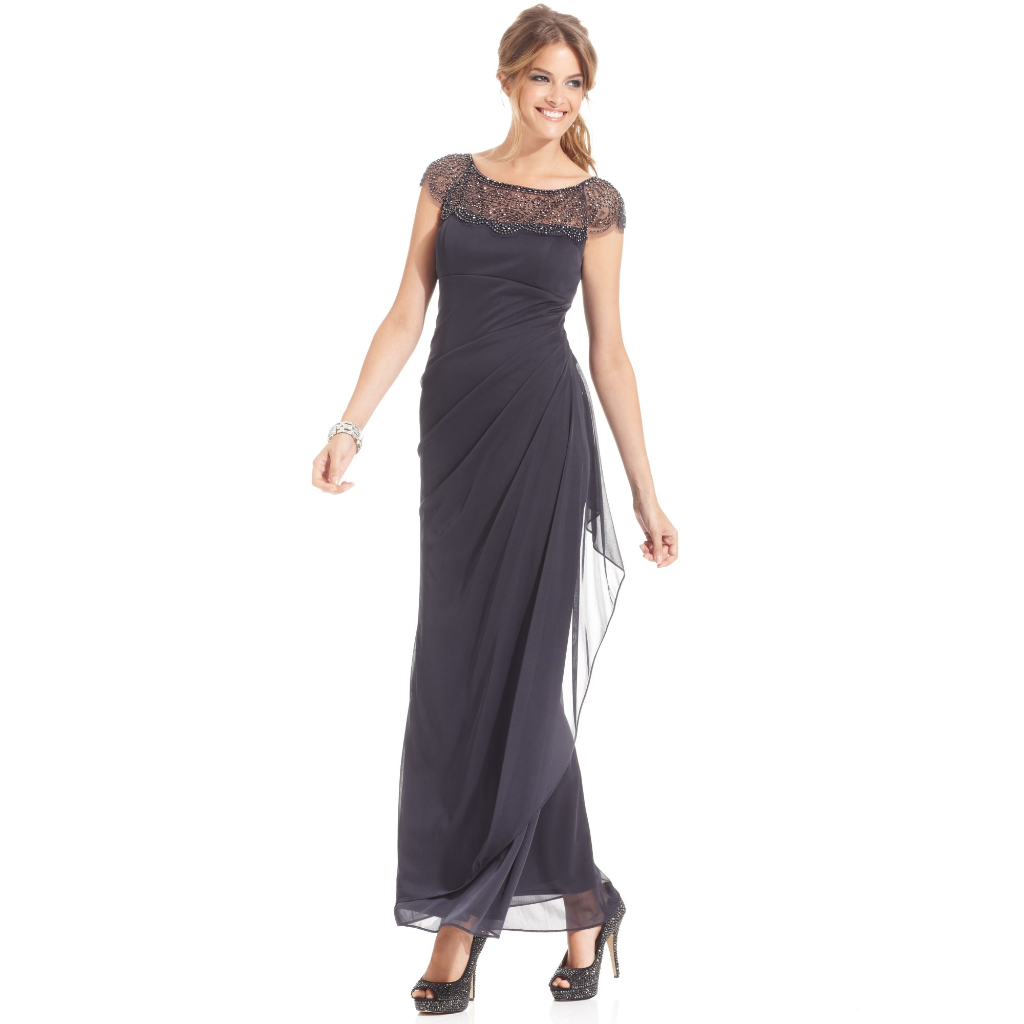 Xscape petite dress capsleeve beaded gown in gray for Petite designers