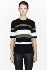 3.1 Phillip Lim Black Ponti Striped Peplum Top - Lyst