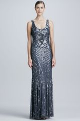 Aidan Mattox Chevron Sequined Beaded Gown - Lyst