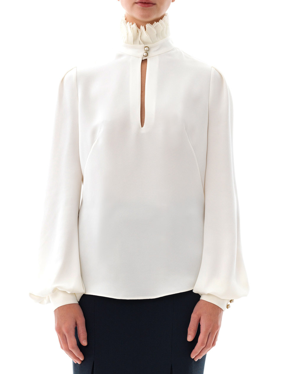 Lyst Alexander Mcqueen Pleated High Neck Blouse In White