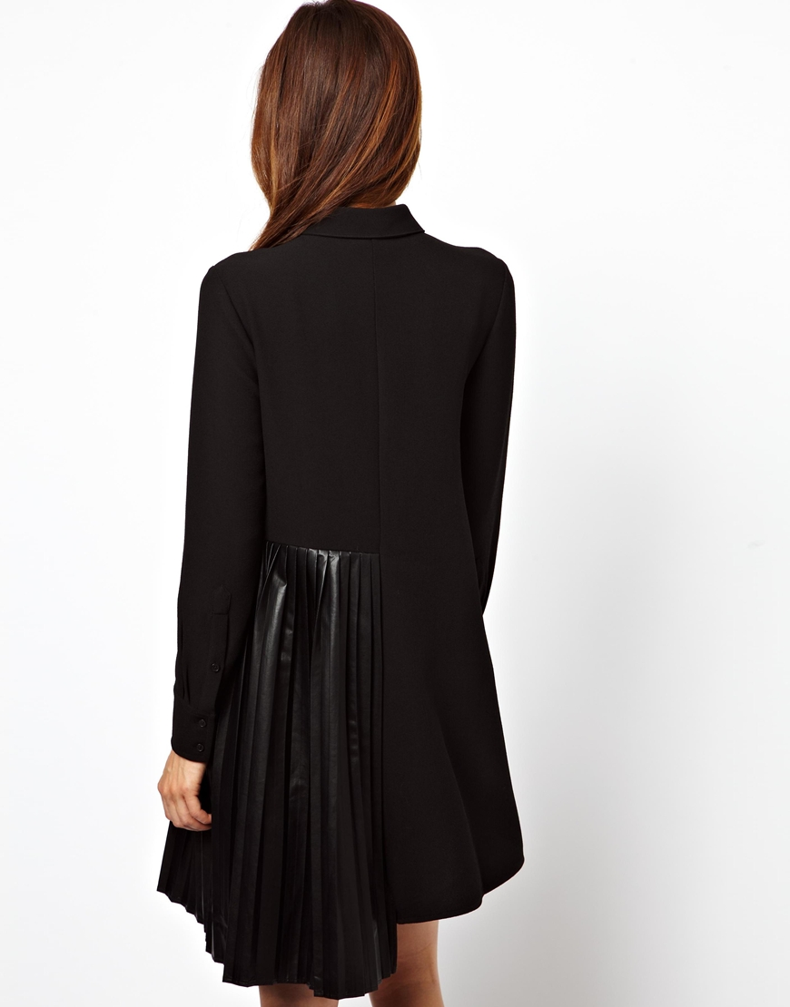 Asos shirt dress with leather look pleated skirt in black for Black pleated dress shirt