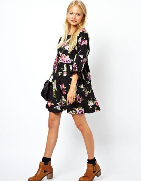 Asos Winter Floral Smock Dress In Floral Print Lyst