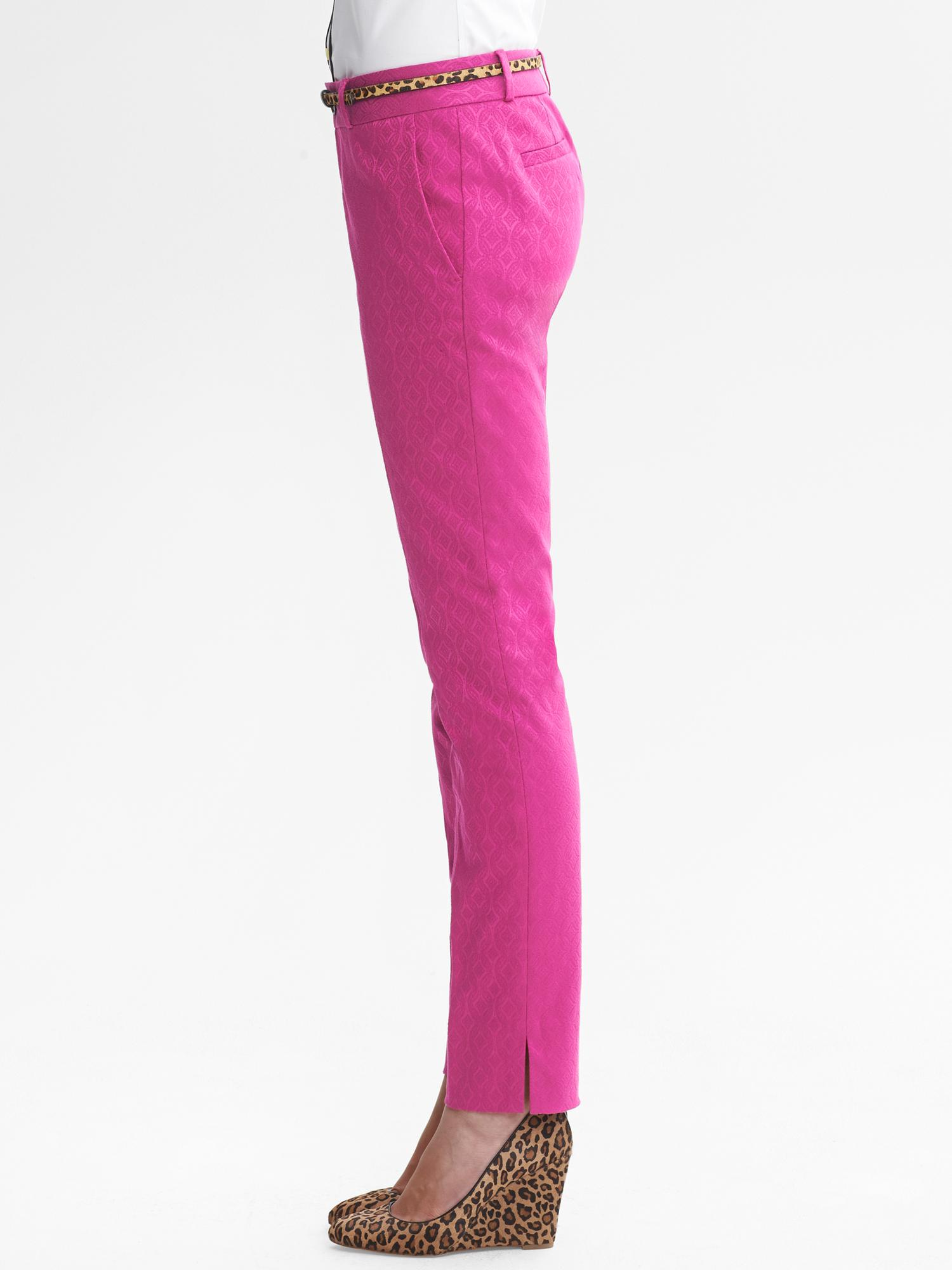 39cec8a876d7f9 Banana Republic Camdenfit Pink Jacquard Skinny Ankle Pant in Pink - Lyst
