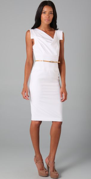 black halo jackie o belted dress black in white lyst