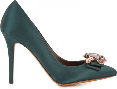 Bruno Magli X Mawi Koroneia Crystal Satin Pumps in Green