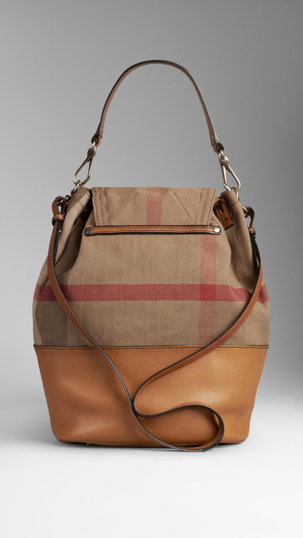 Lyst Burberry Canvas Check Hobo Bag In Brown