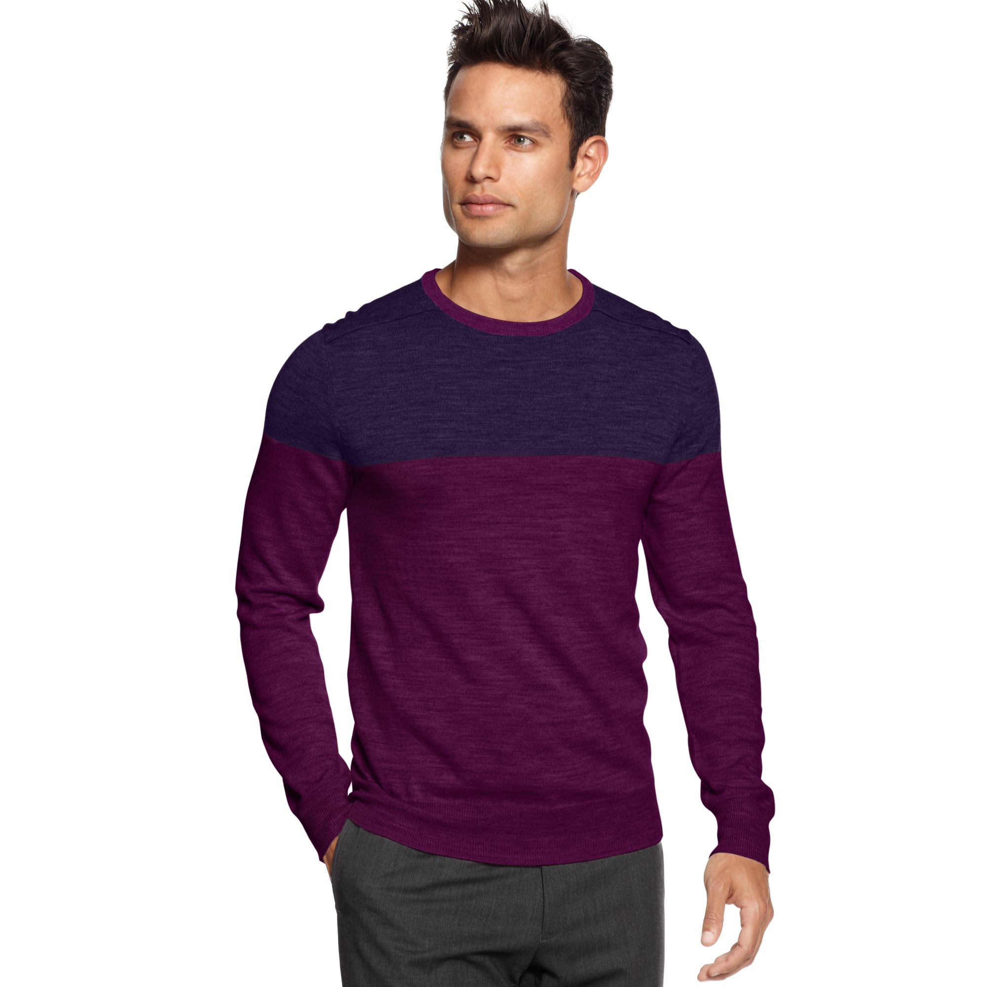 Calvin klein Color Block Crew Neck Sweater in Purple for Men | Lyst