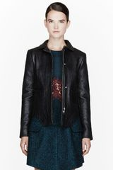 Carven Black Leather Jacket - Lyst