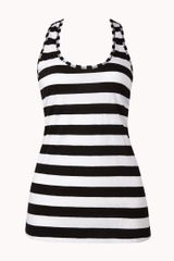 Forever 21 Striped Racerback Workout Tank - Lyst