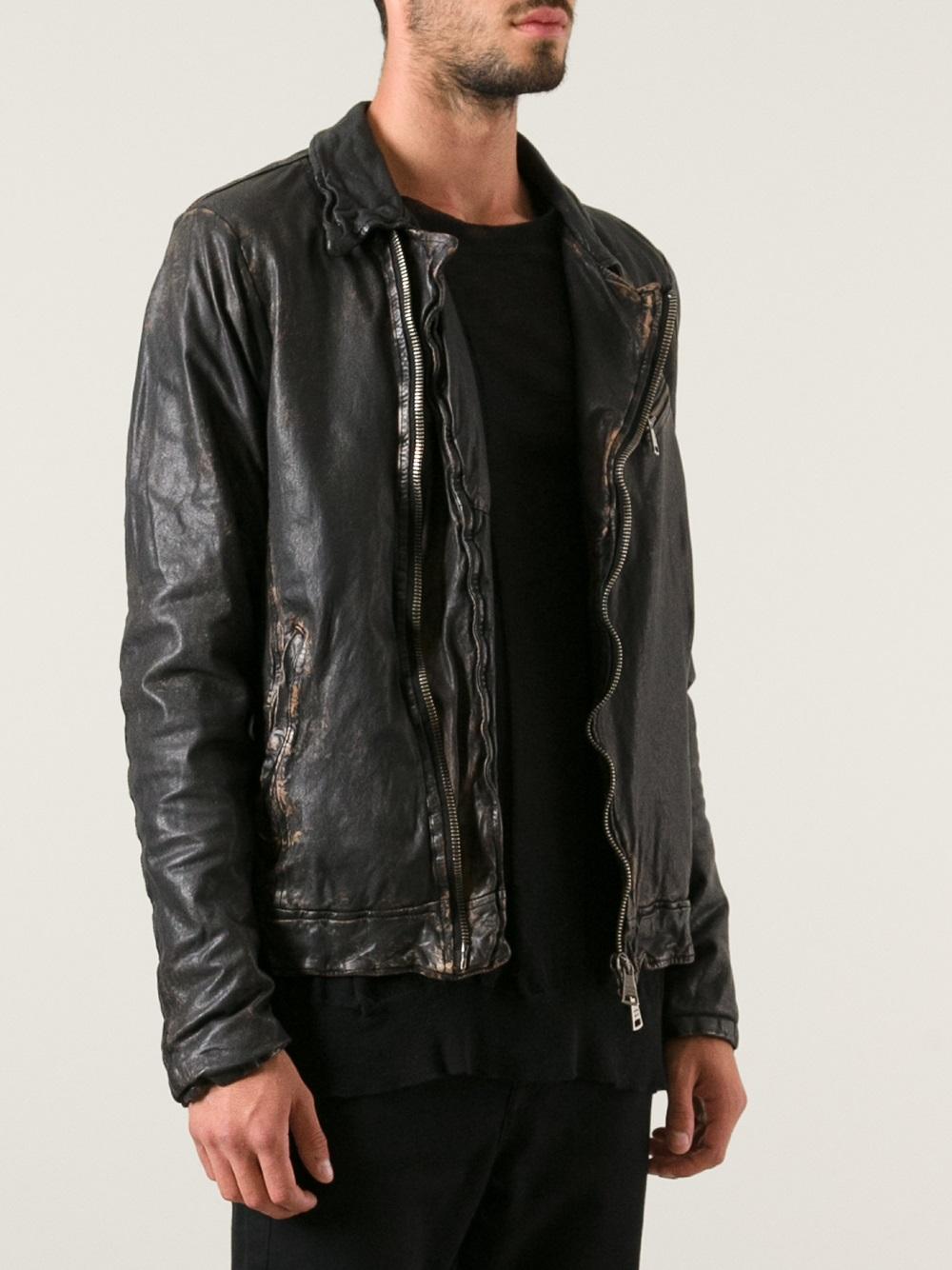 Lyst Giorgio Brato Distressed Leather Jacket In Black