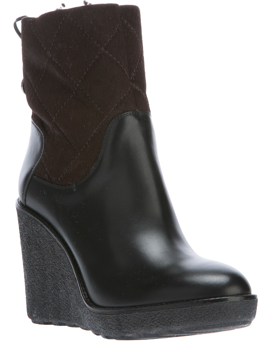 moncler wedge boot in black lyst