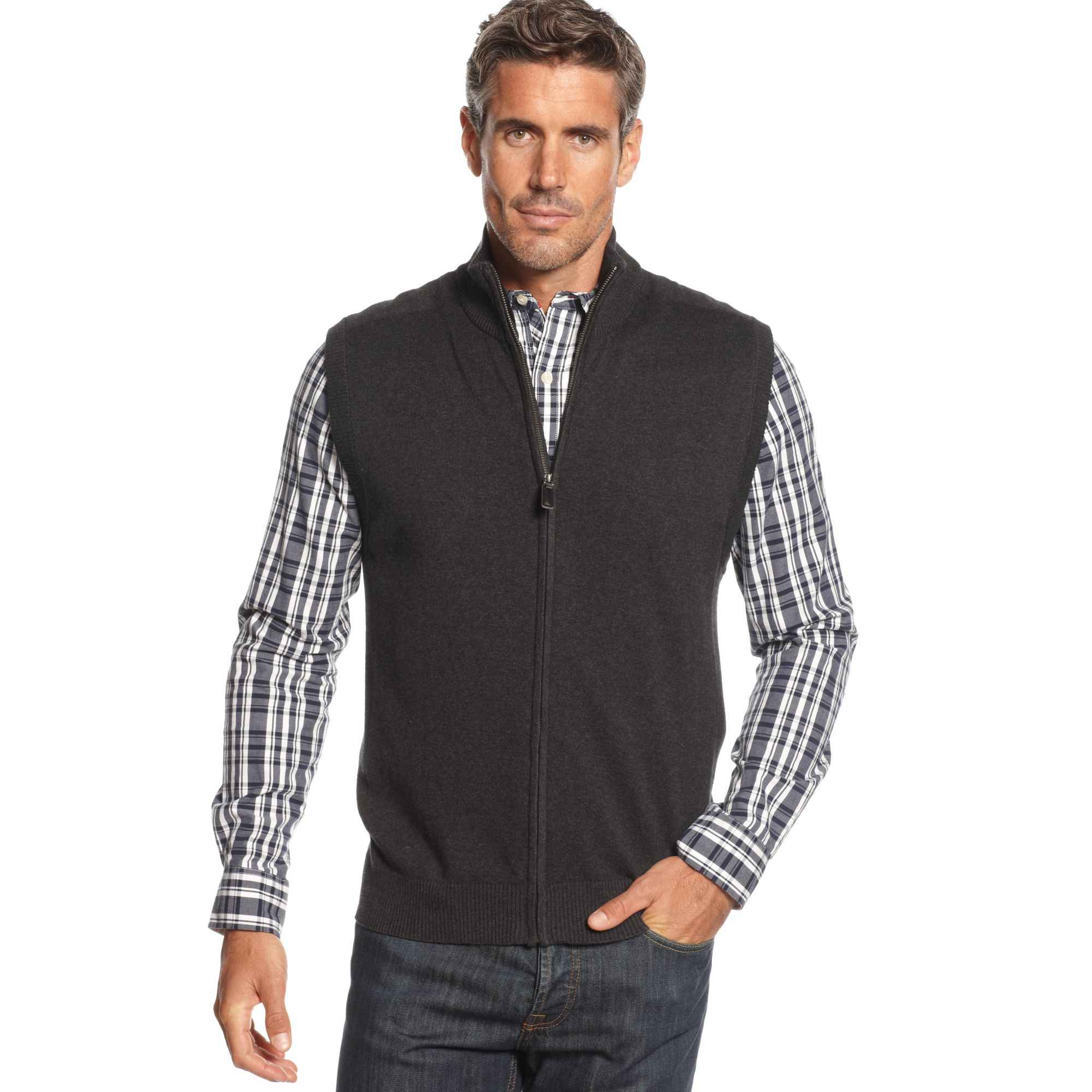Lyst Oscar De La Renta Zip Cotton Sweater Vest In Gray