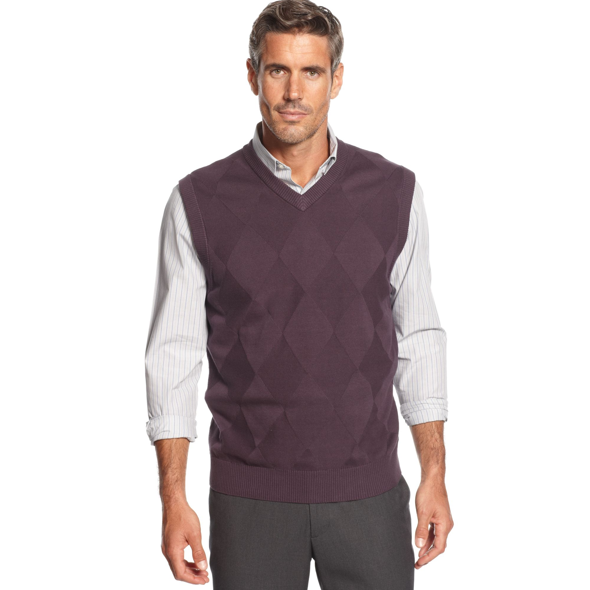 Oscar de la renta Argyle Cotton Sweater Vest in Purple for Men | Lyst
