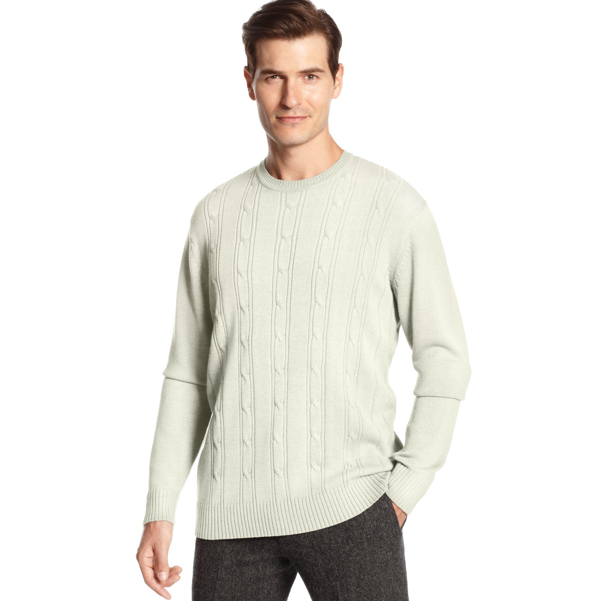 Lyst Oscar De La Renta Crew Neck Cotton Cable Sweater In Natural