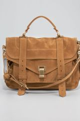 Proenza Schouler Ps1 Medium Suede Satchel Bag Tobacco - Lyst