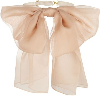 Saint Laurent Silkchiffon and Leather Neck Bow - Lyst