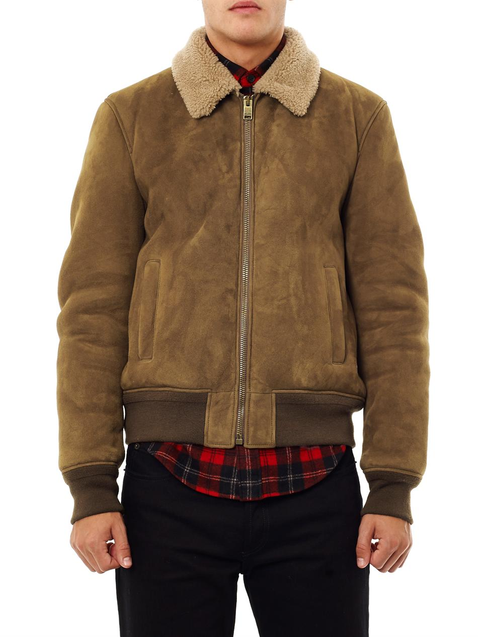 Lyst Saint Laurent Suede And Shearling Bomber Jacket In