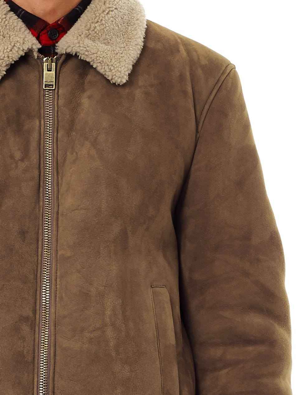 Saint laurent Suede and Shearling Bomber Jacket in Brown for Men ...