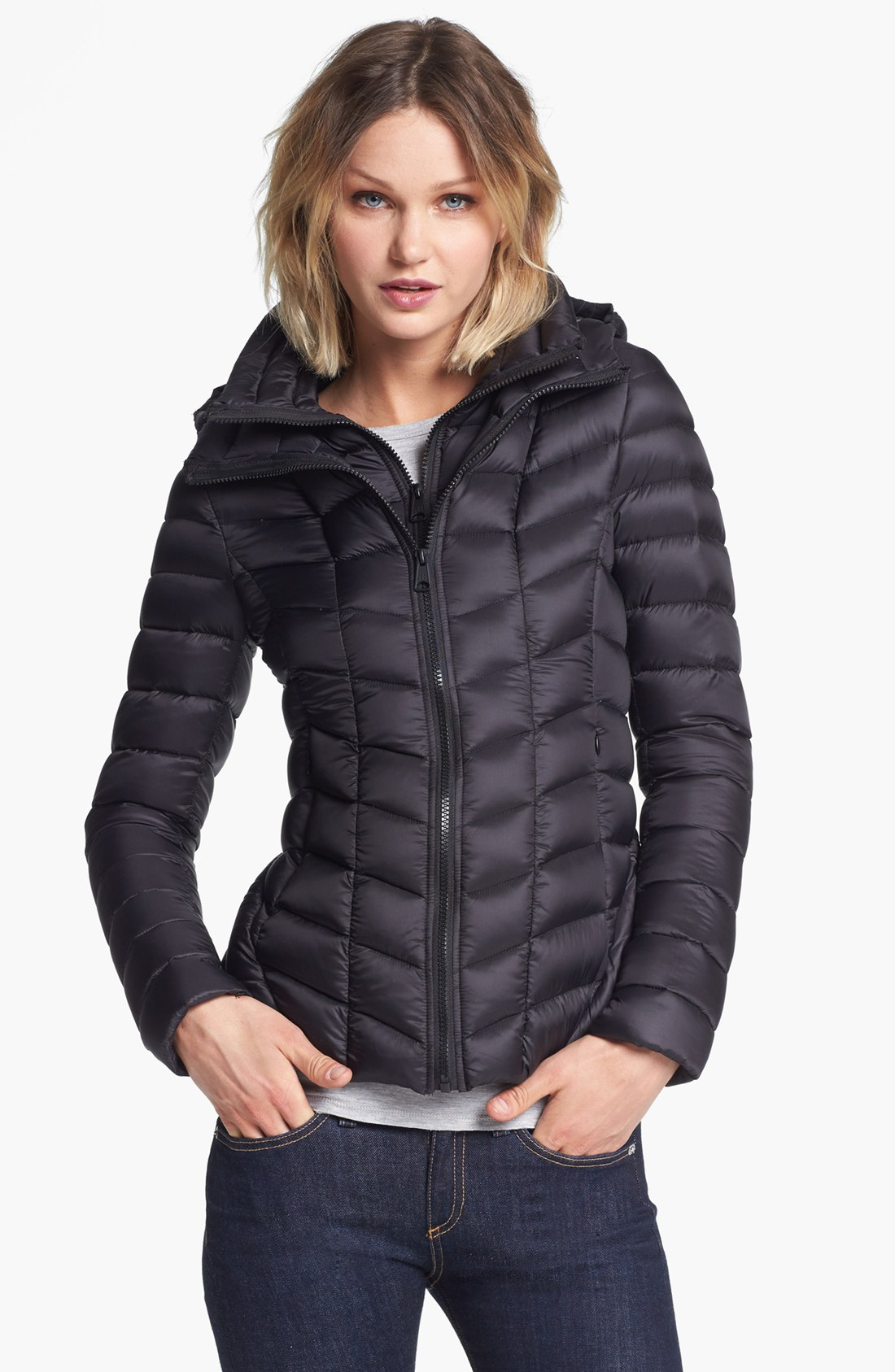 Soia & kyo Hooded Packable Down Jacket with Front Insert in Black ...
