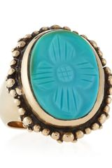 Stephen Dweck Carved Oval Turquoise Ring - Lyst